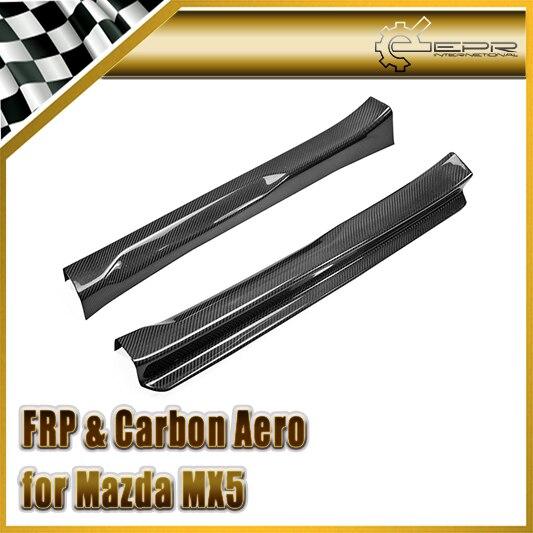 Car Accessories For Mazda MX5 ND5RC Miata Roadster Carbon Fiber Door Sill Panel Plate Glossy Fibre Finish Side Accessories Trim