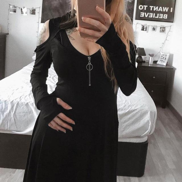 Women's Fashion Gothic Pure Color Hooded Low Cut Cold Shoulder Zippe Mini Dress vestido verano fashion summer clothes for women 2