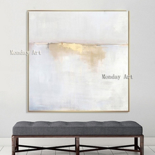 Hand painted classic personality gold white grey modern abstract oil painting for living room wall art picture canvas