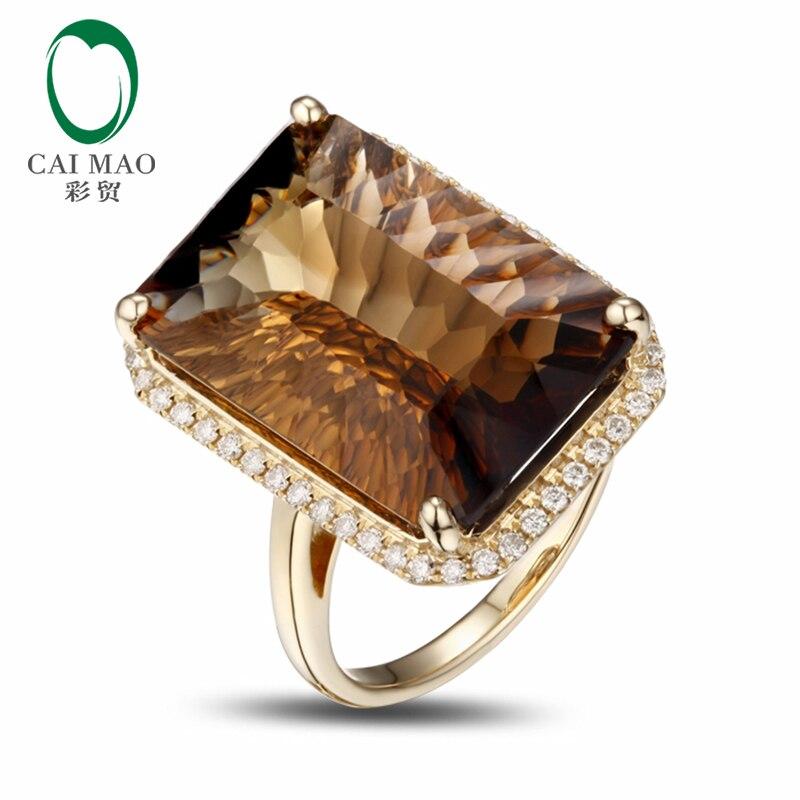 14 k Oro Giallo 17.8CT Taglio Smeraldo Smoky Topaz Fidanzamento Anello di Diamanti