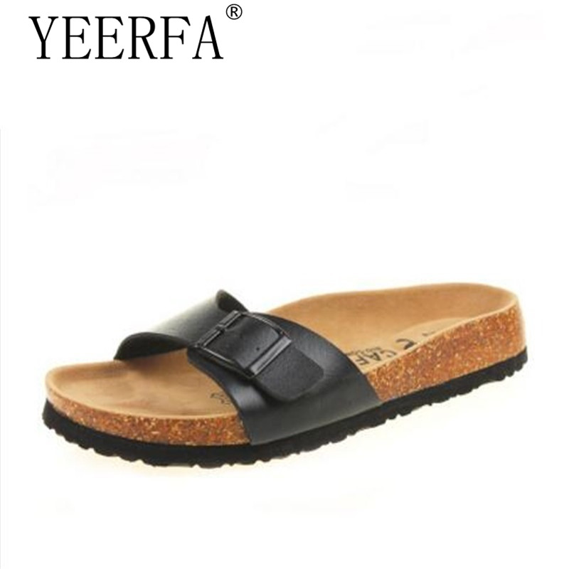 YIERFA New 2017 Summer Men Sandals Cork Slippers Casual Flip Flops Outdoor Shoes Print Mixed Colors Slides Plus Size 35-43 coolfar 2016 new summer print sandals wedges polka dot slippers girls thick soles casual solid med cork flip flops