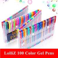 LolliZ 100 Color Gel Pens W/100 Colors Refills Jumbo Color Pen Set Glitter Pens Metal Pastel School Office Stationery Pens