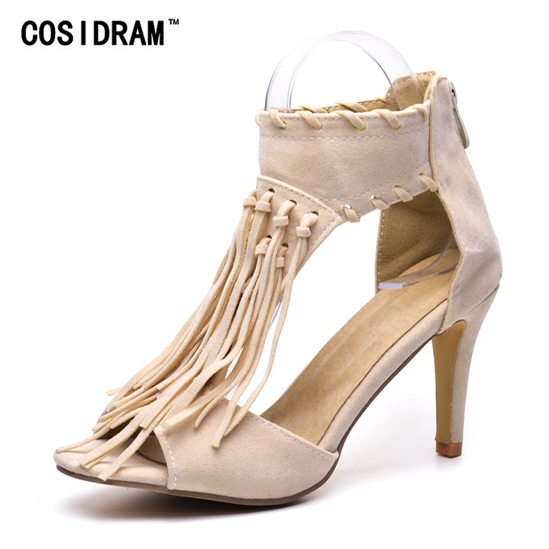 COSIDRAM Tassel Women Sandals High Heels Summer Shoes For Ladies 2018 Fashion Plus Size 41 42 43 SNE-008
