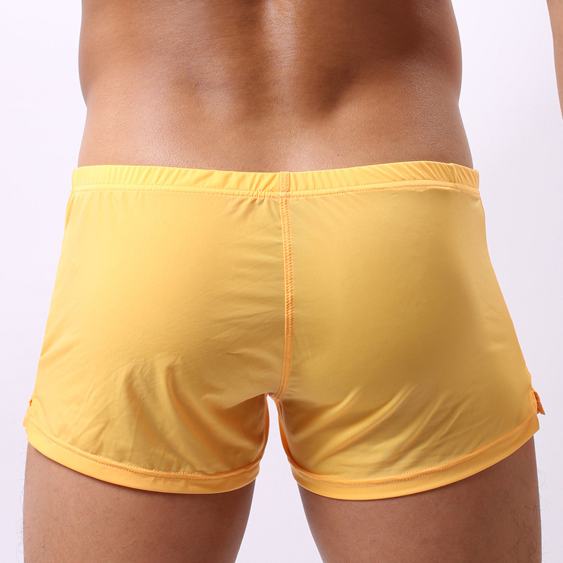 Sexy Men Plus Size U Convex Pouch Shorts Milk Ice Silk Pocket G-Strings Jocks Straps Inside Trunks Shorts Quick-dry Gay Wear F12