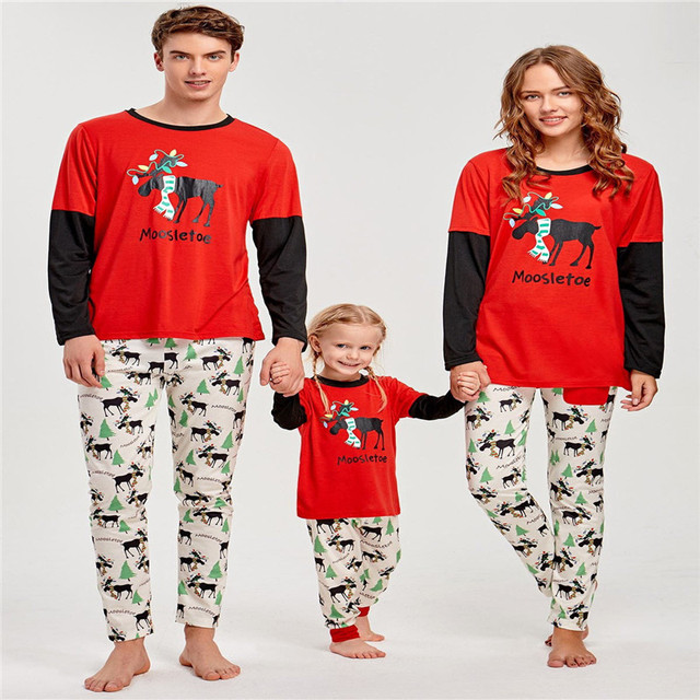 d8a6ca3be0 Family Matching Christmas Theme Casual Adult Kids Long Sleeves Comfortable  Warm Sleepwear Nightwear Pajamas Homewear Set