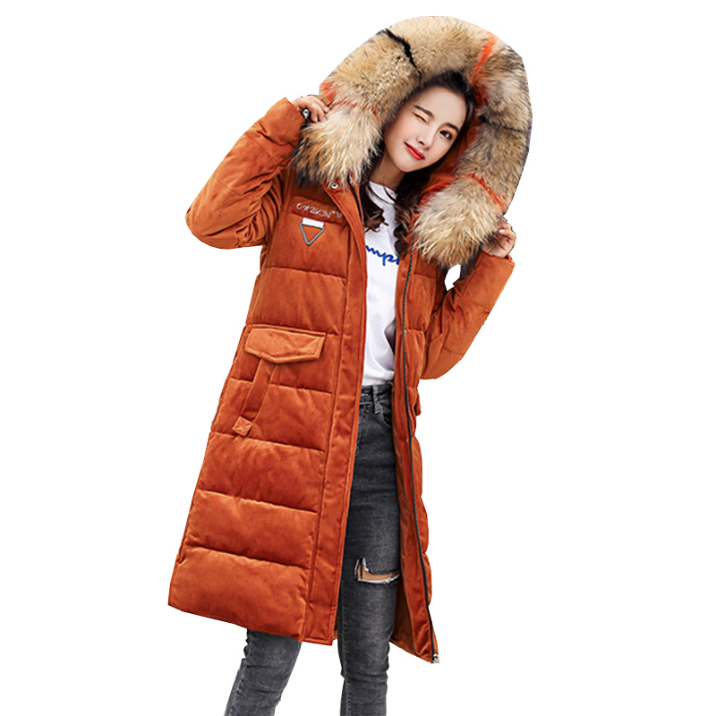 Winter Long Down Jacket Women 2018 New Thick Hooded Casual Duck Down Gold velvet Parkas Warm