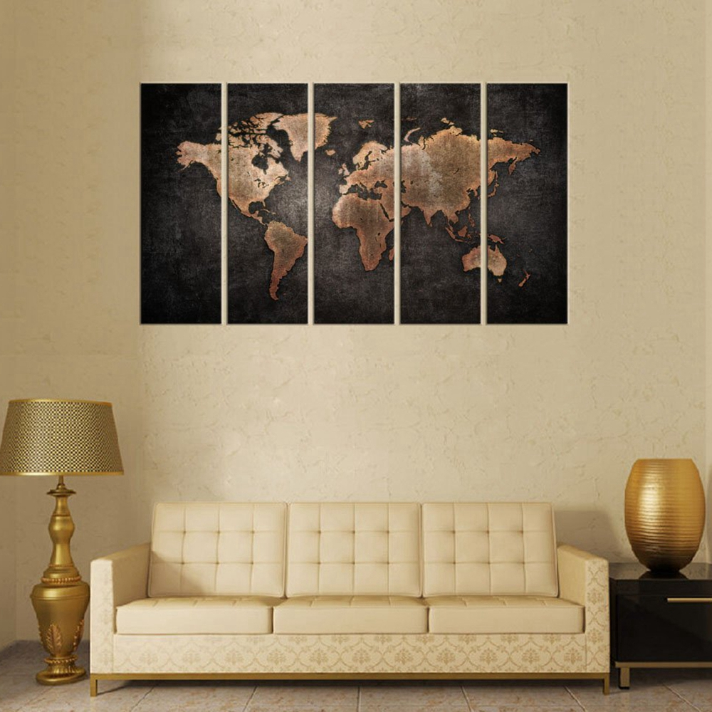 World Map Poster Black and Brown Art Wall Decor Home Decoration Canvas  Painting for Living Room Wall Art Retro Picture Art Print