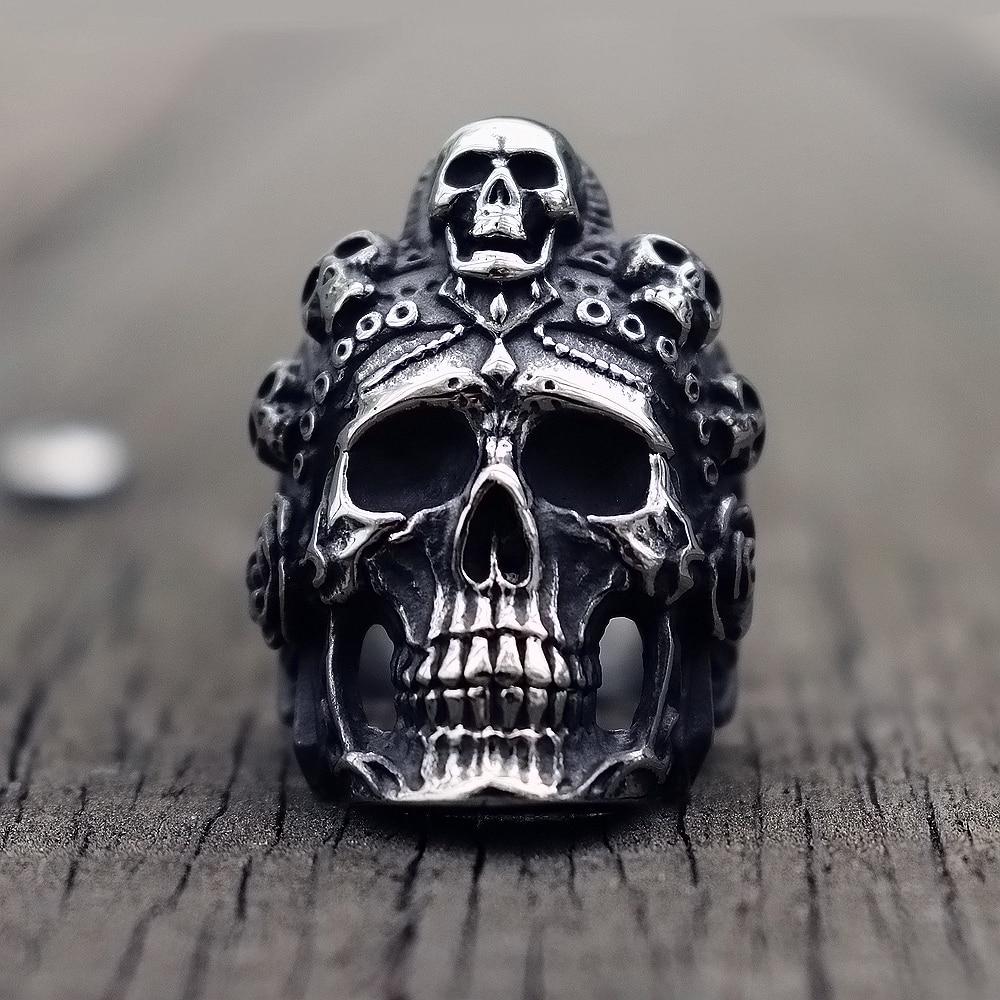 Cool Santa Muerte Death Skull Ring Unique Mens Stainless Steel Rings Punk Rock Biker Jewelry Gift for Him