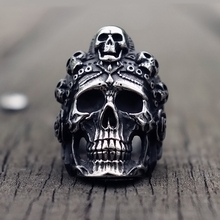 лучшая цена Cool Santa Muerte Death Skull Ring Unique Mens Stainless Steel Rings Punk Rock Biker Jewelry Gift for Him