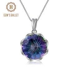 GEMS BALLET Classic 9.64Ct Natural Rainbow Mystic Quartz Gemstone Pendant Necklace For Women 925 Sterling Silver Fine Jewelry