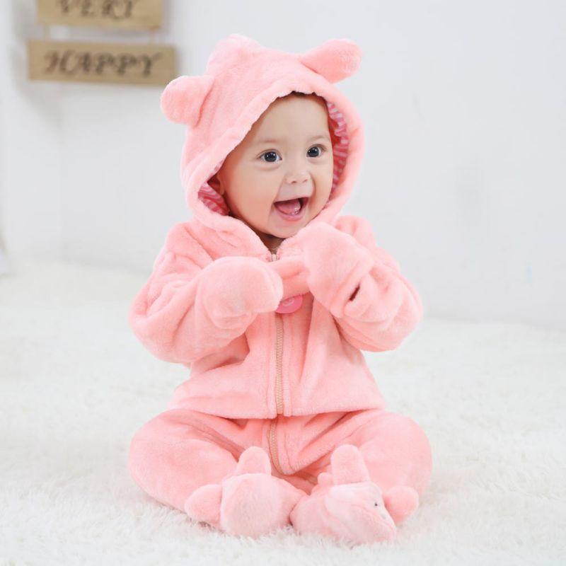 Liefern Baby Kleidung Pyjamas Frühling Herbst Baby Kleidung Flanell Baby Jungen Kleidung Cartoon Tier Ohren Overall Baby Mädchen Strampler Freigabepreis