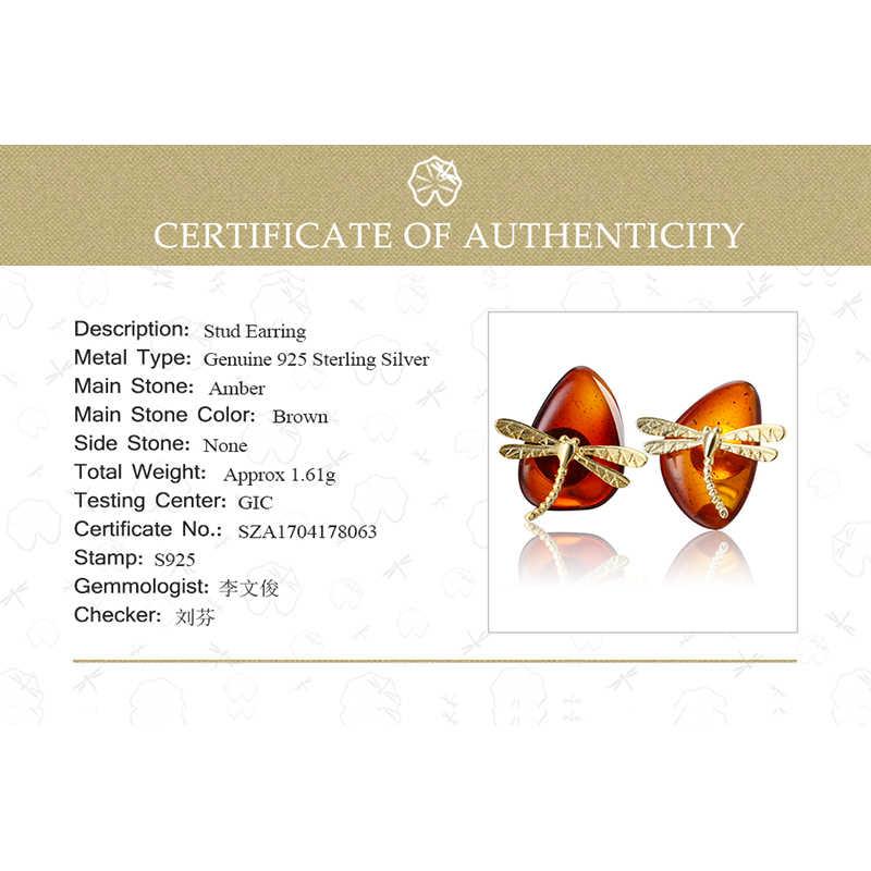 75b23763f ... Lotus Fun Real 925 Sterling Silver Natural Amber Original Handmade Fine  Jewelry Cute Dragonfly Stud Earrings