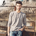 Pioneer Camp.Free shipping 2017 new fashion mens t shirt long sleeve brand clothing solid top quality tshirts casual fit 622003