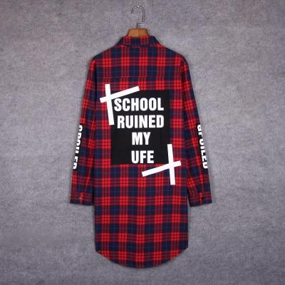Hip hop plaid long shirt men's casual plaid extended blouse streetwear man spring autumn hiphop clothes camisa masculina 5