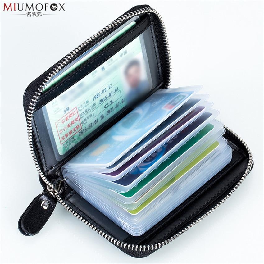 RFID Genuine Leather Women Men ID Card Holder Large