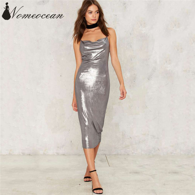 f2623aeb9af3 Perfect Storm Metallic Midi Dress Ruched Detail Backless Spaghetti Strap Women  Dresses Silver Glittering Bodycon Dress M17060727