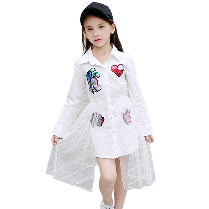 Vestidos para Meninas 10 12 14 8 6 15 Anos Vestido de Criança Meninas Lantejoulas Blusa Completo Manga Patchwork De Malha Branco vestido de verão 2018