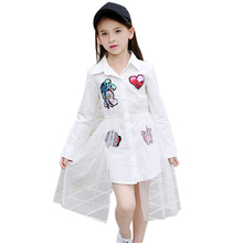 Dresses for Girls 10 12 14 15 8 6 Years Toddler Dress Full Sleeve  Girls Blouse Sequins Patchwork White Mesh Summer Dress 2018