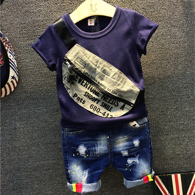 Baby Boy Summer Clothes Children Clothing Set Cotton Fashion Short Sleeve Front Zipper Tshirt Jeans Pant Suit Set Boys 2pcs Suit