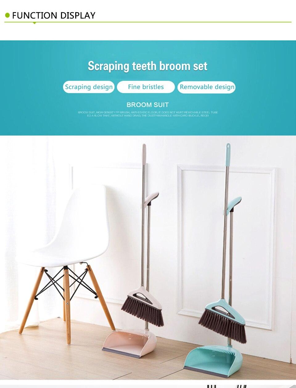2PCS/Set Latest Plastic Dustpan Soft Bristle Broom Thicken Household ...