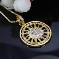 Thomas Style Yellow Gold Plated Sun Pendant Necklace 2017 European Glam Jewelry Soul For Women TS