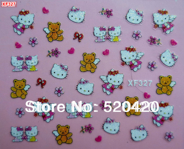 Free Shipping 30 packs/lot 3D Hello Kitty Nail Art Stickers Cartoon Cute Design Nail Decals Hello Kitty