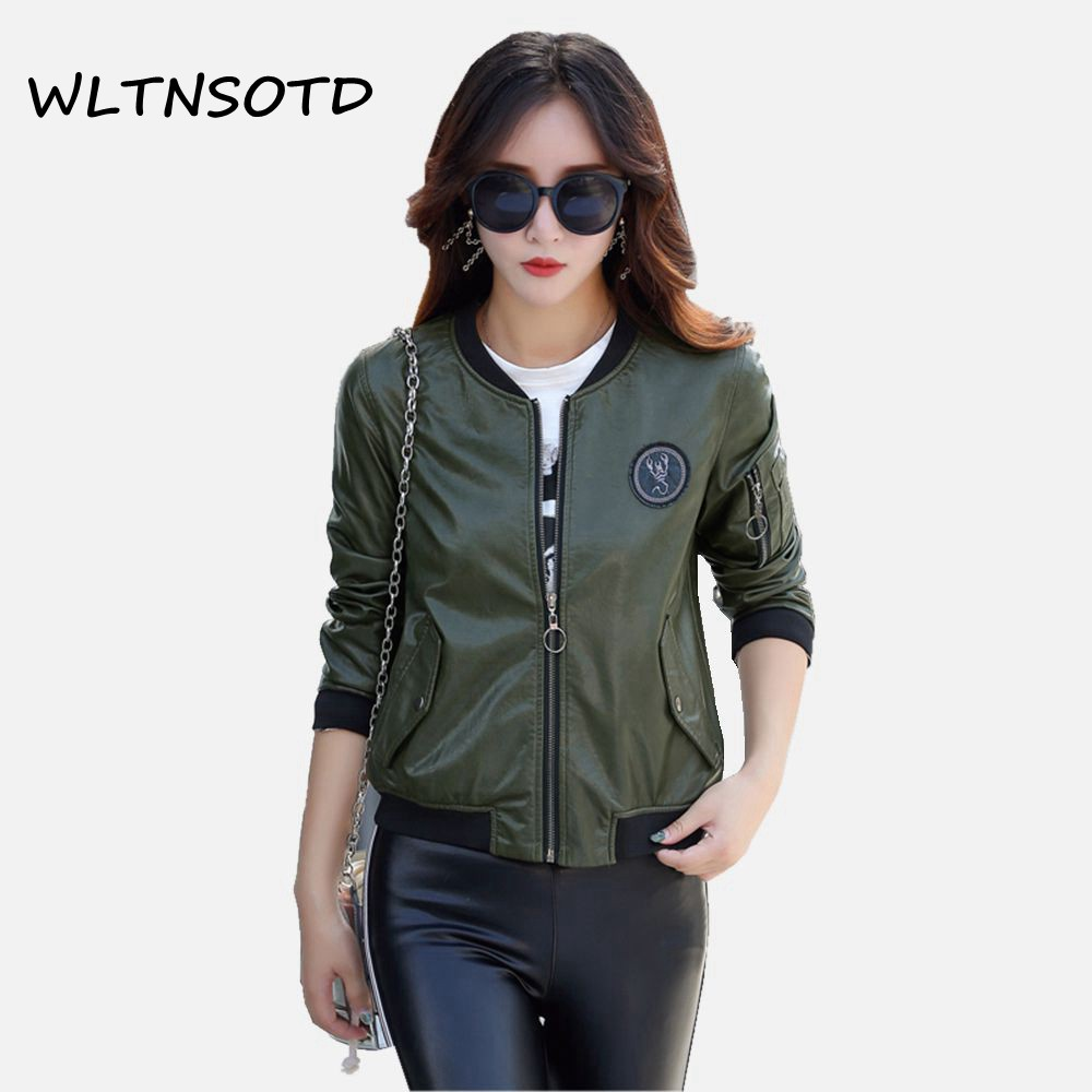 2017 autumn winter new women fashion PU loose short sleeved zipper jacket female can become a bag solid leather jacket