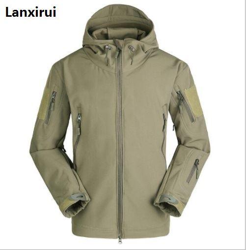 The New Soft Cap Male Jackets Shark Leather Fleece Jacket Jacket Wind And Rain Cold Camouflage Jacket Large Size Male