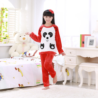 Girls Pajamas Set Big Child Long Sleeves Flannel Autumn Winter Cartoon Red Panda Sleepwear Kids Coral