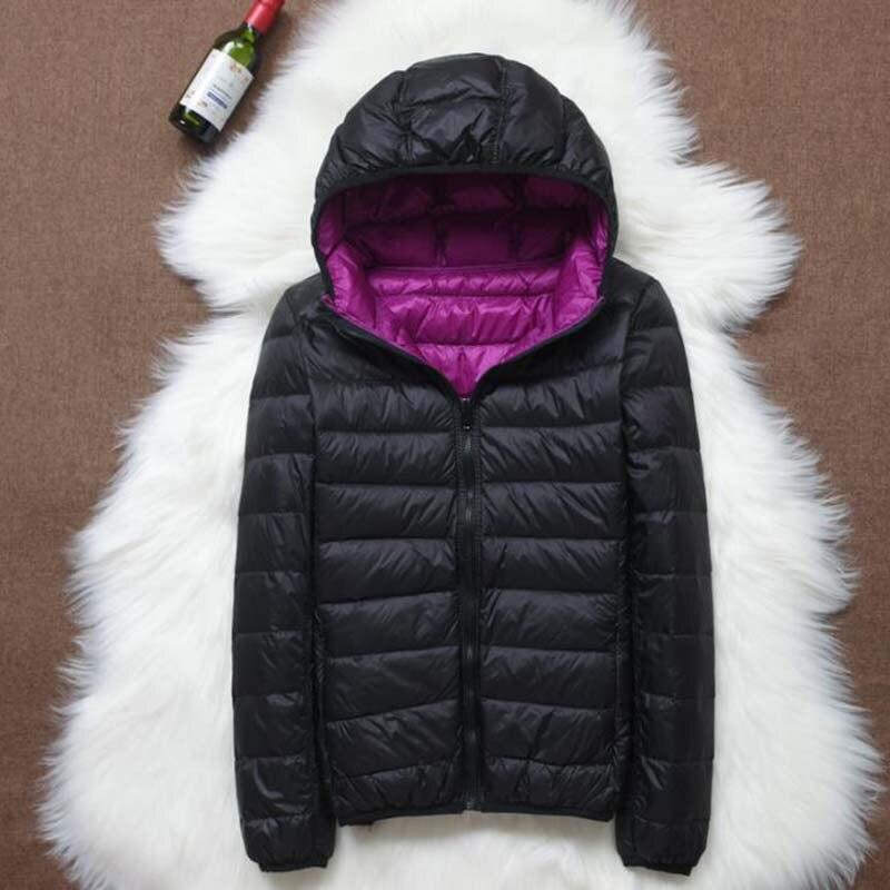 Autumn Winter Women Down Jacket Women s Double Sided Wear Hooded Ultra Light White Duck Down