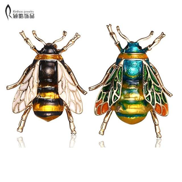 Rinhoo Insetti Bumble Bee Spilla per Le Donne Delle Ragazze Dei Capretti bee gioielli In Oro di Colore Giallo Verde Dello Smalto Spille Gioielli bumble bee
