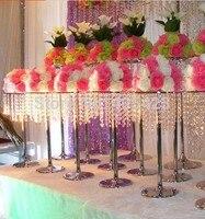 4 pcs/lot 60 cm Hauteur cristal perle de mariage props route plomb cadre haut diamètre 30 cm avec perle, pas y compris fleur
