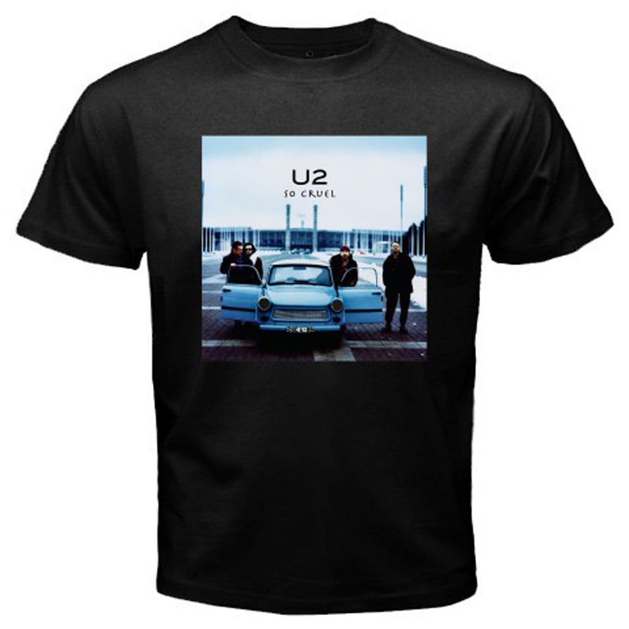 New U2 So Cruel Rock Music Band Logo Mens Black T-Shirt Size S to 3XL Male Pre-Cotton Clothing 100% Cotton