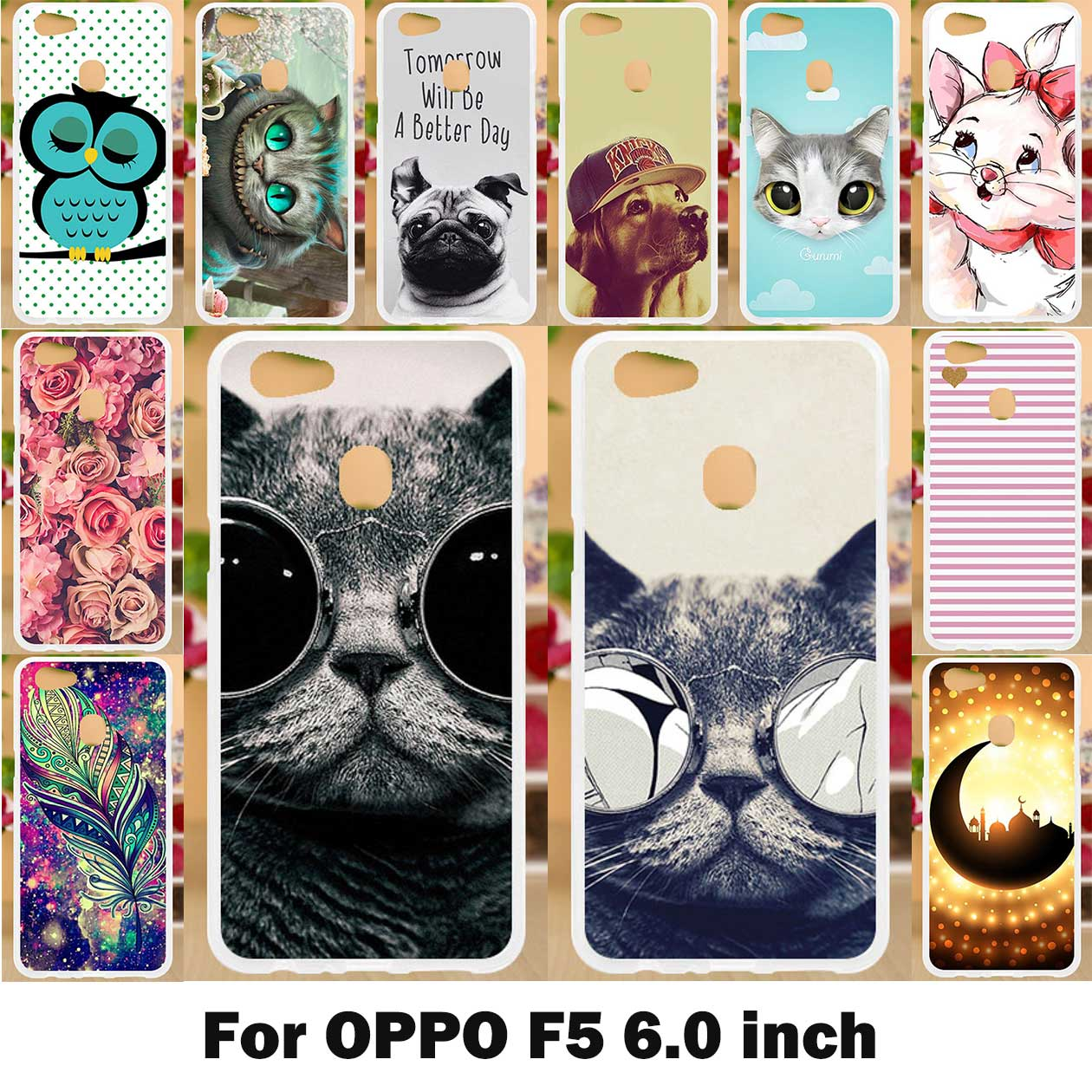 AKABEILA Soft TPU DIY Cases For OPPO F5 Case Silicone Coque Funda For OPPO F5 Cover For OPPOF5 F 5 6.0 Inch Cute Dogs Cats Bags