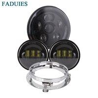 FADUIES Black 7 inch LED Headlight / 4.5 inch Passing Fog Light +7 Bracket For Harley Classic Electra Glide Street