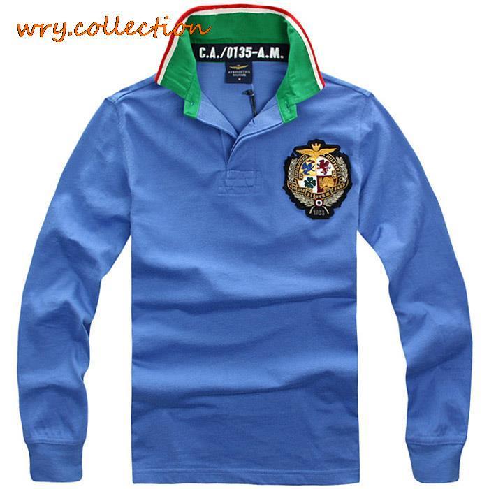 AERONAUTICA MILITARE   polos  ,Fashion shirt with long sleeve ,spring autumn casual   polos   Free Shipping