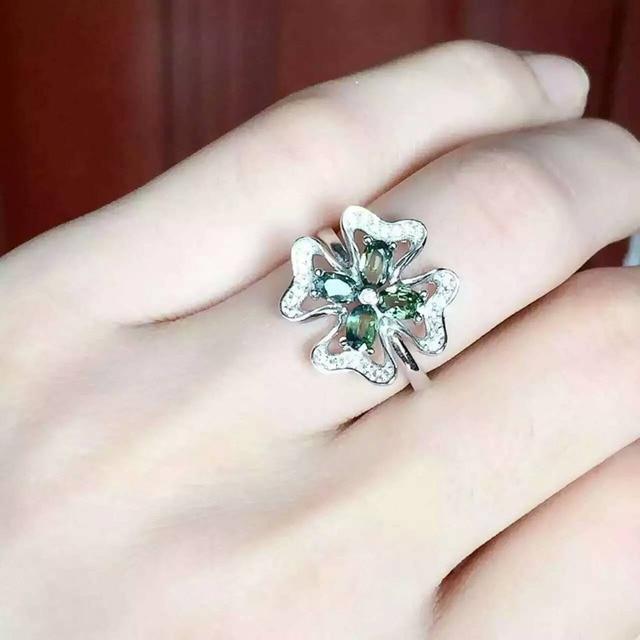 93fdc923614b Natural azul zafiro Anillo de piedras preciosas Anillo de piedra Natural 925  de plata esterlina de