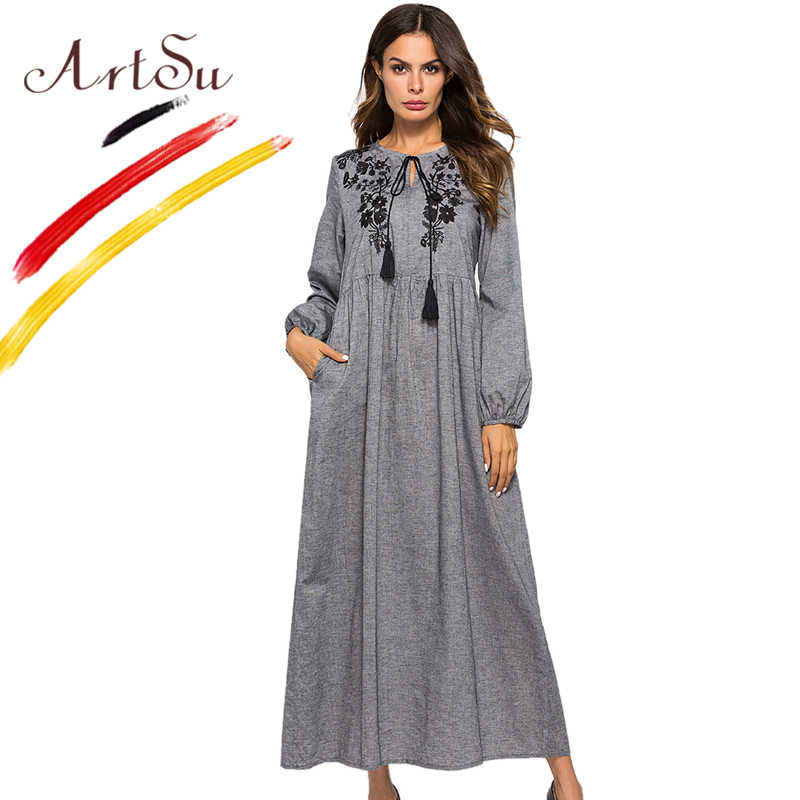 ArtSu Vintage Boho Floral Embroidery Maxi Dress Women Tie Neck Tassel Long  Sleeve Gray Pleated Robe 3a64d4c4b