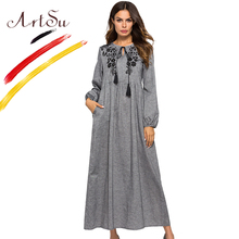 ArtSu Vintage Boho Floral Embroidery Maxi Dress Women Tie Neck Tassel Long Sleeve Gray Pleated