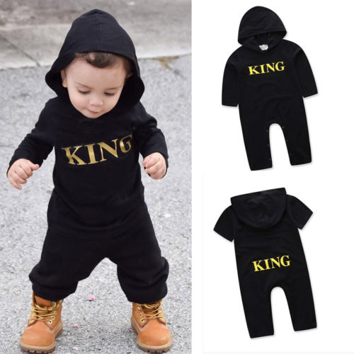 Infant Baby Kid Boy Girl Infant   Romper   Jumpsuit Hooded Cool Outfit Set