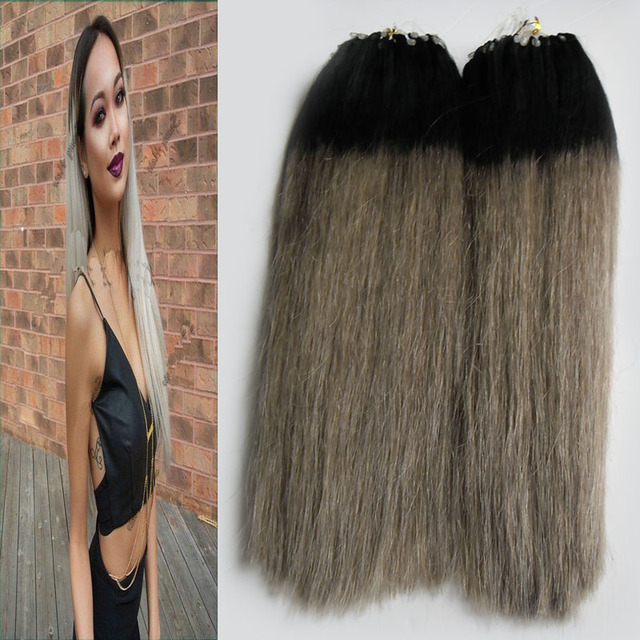 Silver Hair Ombre Micro Hair Extensions 200g Beaded Micro Link