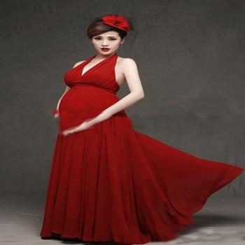 Maternity Photography Props Pregnant Women Dresses Pregnancy Photo Shoot Sleeveless Flower long Dres photo shoot
