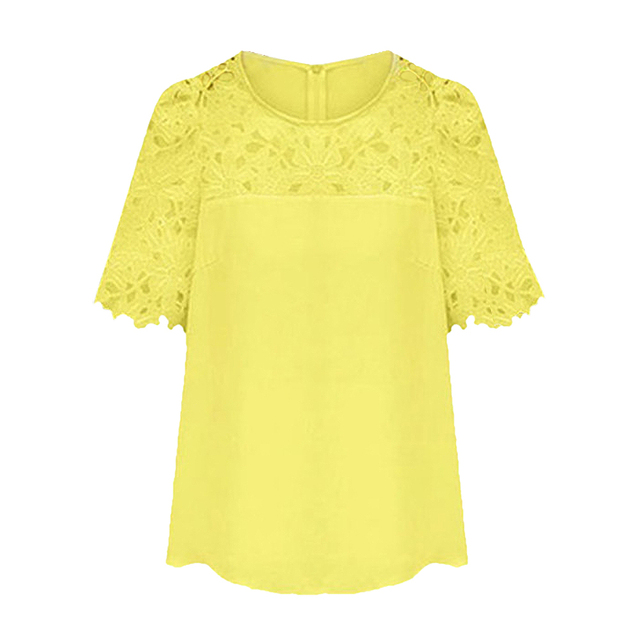 7510082dfe5a77 SYB 2016 NEW Chiffon Blouse Hollow Lace Short Sleeve Crew Neck Shirt Women  Tops Yellow XL