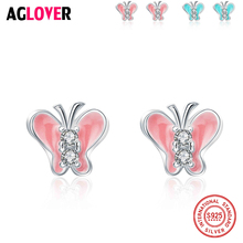 New Arrival Fashion Pink/Blue Butterfly 925 Sterling Silver Ladies AAA Crystal Stud Earrings Jewelry Christmas Women Gift