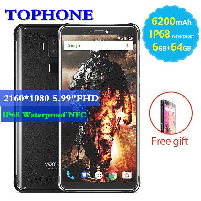 Vernee <font><b>V2</b></font> Pro Android 8,<font><b>1</b></font> IP68 Водонепроницаемый смартфон 5,99 &#8220;MT6763 Восьмиядерный 6 ГБ + 64 ГБ 21MP 4 камеры NFC OTG 6200 мАч 4 г мобильного телефона