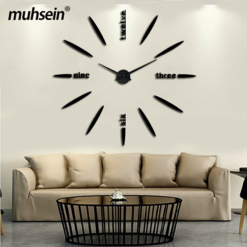 2017 new wall clocks fashion Living room watch Acrylic mirror Stickers Wall Clock Quartz Modern Home Decoration Free shipping