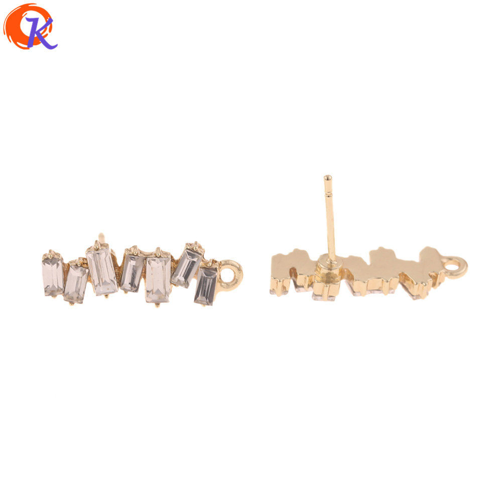 Cordial Design 50Pcs 7*21MM Jewelry Accessories/Rhinestone Earrings Stud/Square Shape/DIY Making/Hand Made/Earring Findings