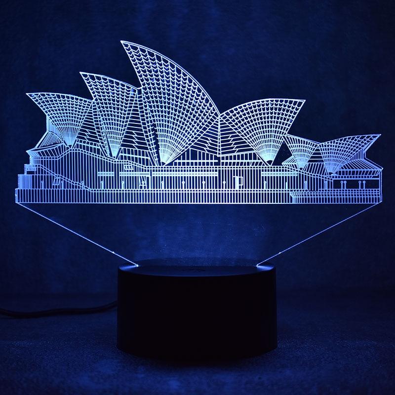 Creative 3D LED Visual Sydney- ի գունագեղ լույսի հարմարանք USB սեղանի լամպ Քնած գիշերային լույս Lampara Նորույթներ Նորաձևության Օպերայի լամպի նվեր