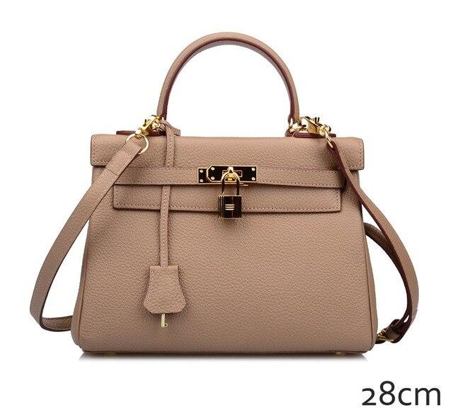 d034a62df35 Ainifeel Women s Padlock Genuine Leather 28CM Shoulder Handbag Top Handle  Bag Tote Purse