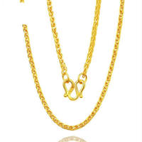 Pure 24K Yellow Gold Wheat Chain Necklace 999 Gold Luxky Perfect Necklace